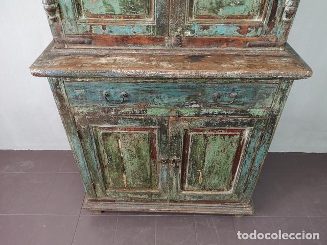 Antigüedades: IMPRESIONANTE ANTIGUA ALACENA DE 2 CUERPOS DE TECA PINTADA Y PATINADA INDIA S XIX - Foto 7 - 148779878