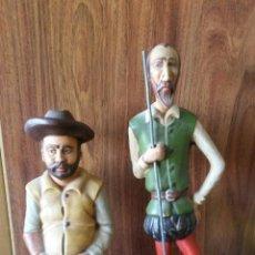 Antigüedades: ESCULTURAS FIGURAS DON QUIJOTE Y SANCHO PANZA GRAJEFF TERRACOTA. Lote 148789956