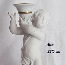 Antigüedades: CANDELABRO PORCELANA NIÑO ANGELITO BIDASOA BISCUIT. Lote 148791494