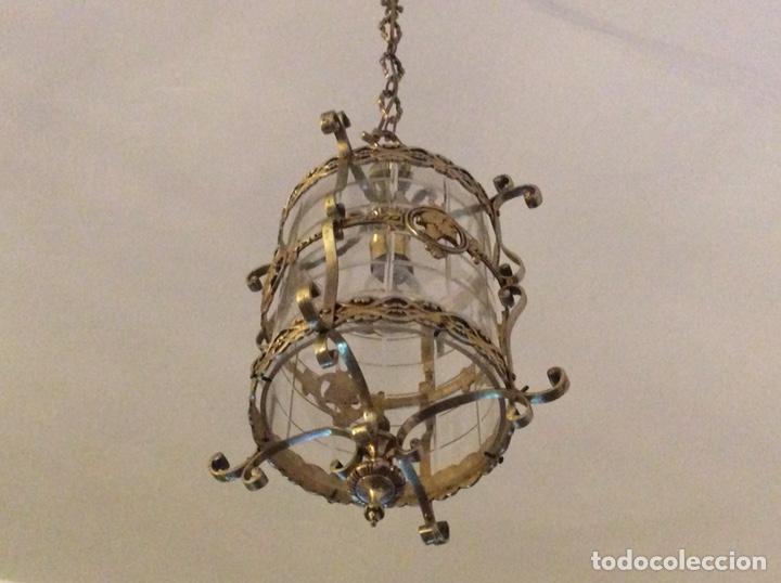 ANTIGUA LAMPARA FAROL BRONCE CRISTAL REDONDO (Antigüedades - Iluminación - Faroles Antiguos)