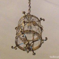 Antigüedades: ANTIGUA LAMPARA FAROL BRONCE CRISTAL REDONDO. Lote 148820316