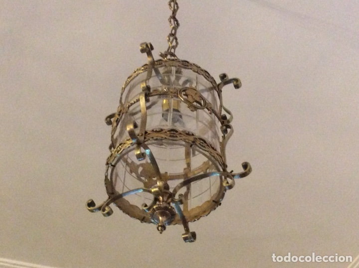 Antigüedades: Antigua lampara farol bronce cristal redondo - Foto 2 - 148820316
