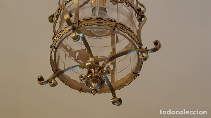Antigüedades: Antigua lampara farol bronce cristal redondo - Foto 3 - 148820316
