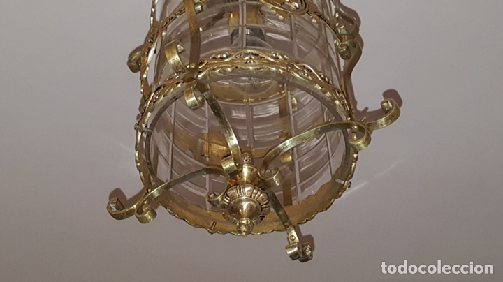Antigüedades: Antigua lampara farol bronce cristal redondo - Foto 5 - 148820316