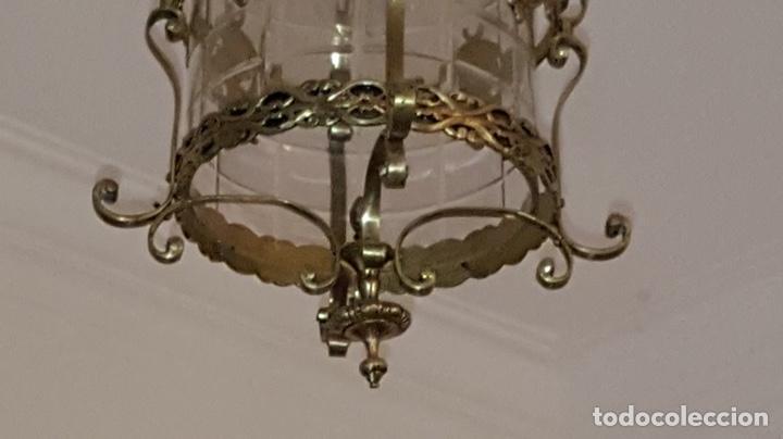 Antigüedades: Antigua lampara farol bronce cristal redondo - Foto 9 - 148820316