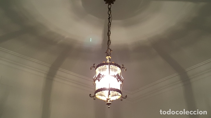 Antigüedades: Antigua lampara farol bronce cristal redondo - Foto 11 - 148820316