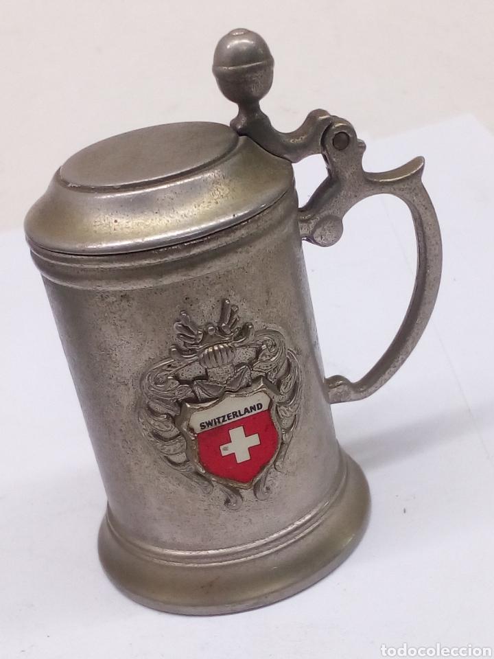 Antigüedades: Jarra metalica suiza - Foto 2 - 148824224