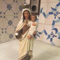 Antigüedades: ANTIGUA VIRGEN DEL CARMEN CON NIÑO JESÚS DE ESCAYOLA DE LOS AÑOS 50. Lote 174320767