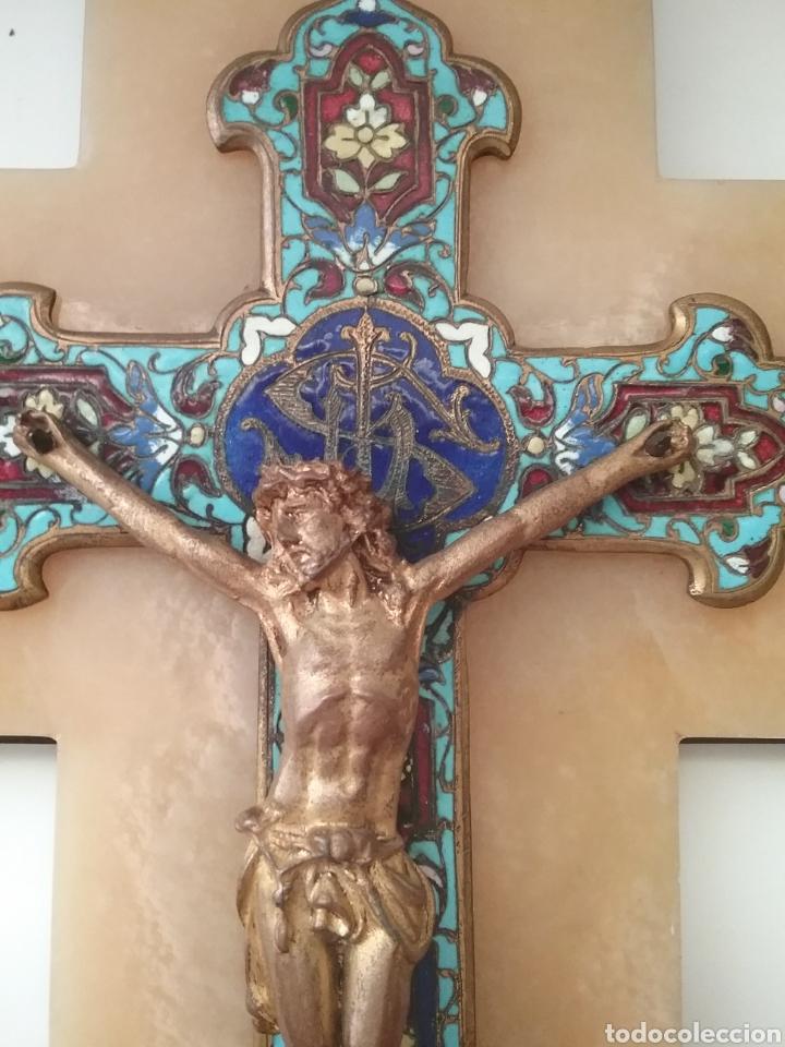 Antigüedades: Benditera cloisonne con cruz sobre alabastro. - Foto 2 - 148898148