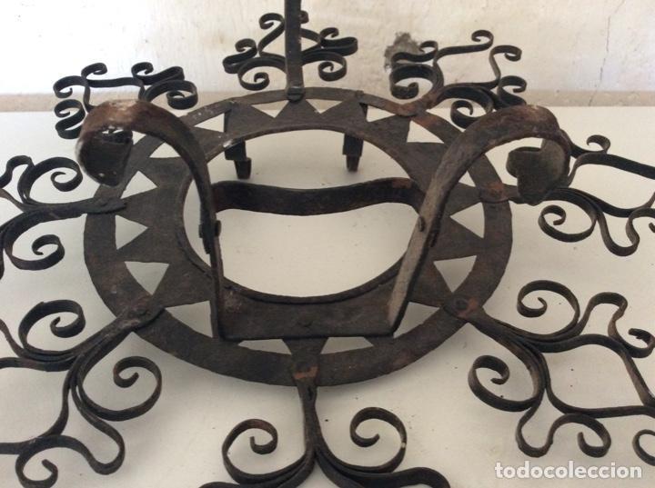 Antigüedades: Antiguo almirecero de forja excepcional trabajo artesanal - Foto 3 - 148932882