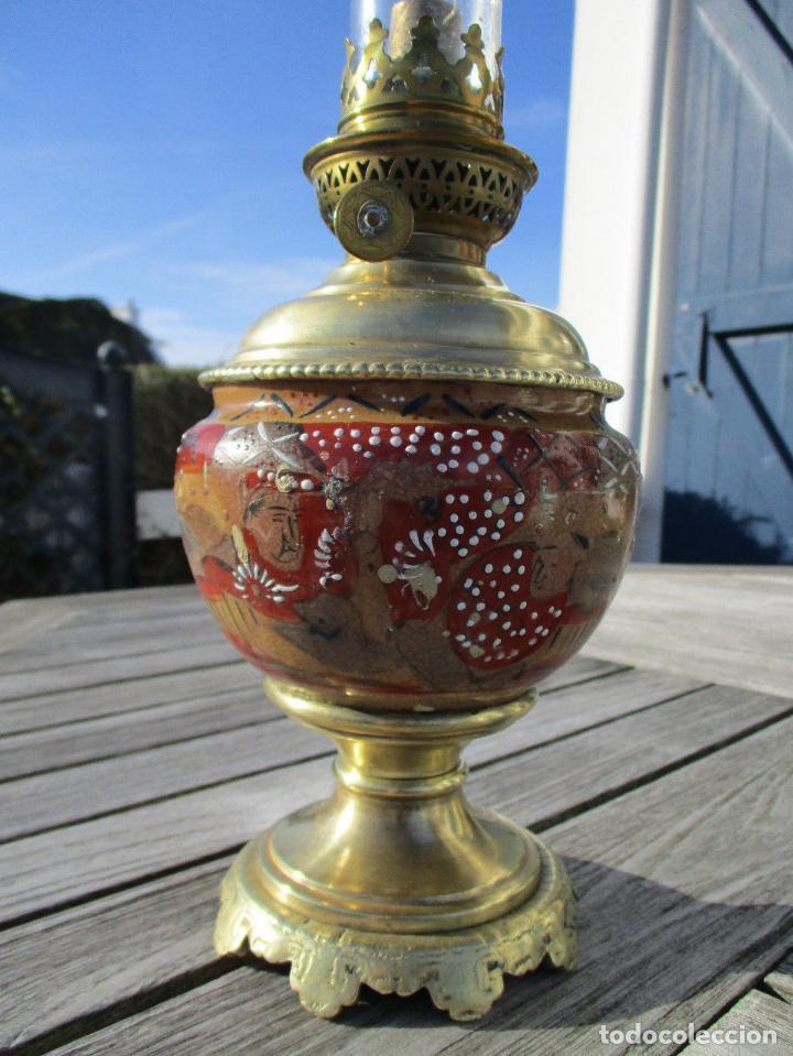 PRECIOSO QUINQUE LAMPARA PETROLEO JAPÓN SATSUMA SIGLO XIX PERFECTA 198,00 € (Antigüedades - Iluminación - Quinqués Antiguos)