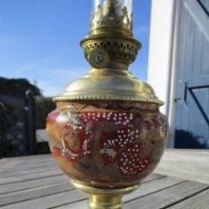 Antigüedades: PRECIOSO QUINQUE LAMPARA PETROLEO JAPÓN SATSUMA SIGLO XIX PERFECTA 198,00 €. Lote 149001250