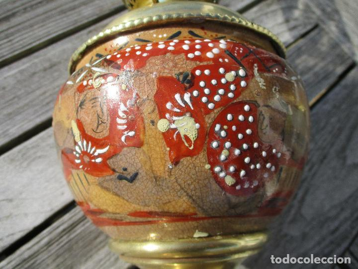 Antigüedades: PRECIOSO QUINQUE LAMPARA PETROLEO JAPÓN SATSUMA SIGLO XIX PERFECTA 198,00 € - Foto 3 - 149001250