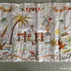 Antigüedades: ESPECTACULAR TAPIZ BORDADO. Lote 149065580