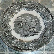 Antigüedades: PLATO DE LOZA DE CARTAGENA FABRICA LA AMISTAD (1842-1893) CON SELLOS MIDE 22,50 CM. DE DIÁMETRO. Lote 149066854
