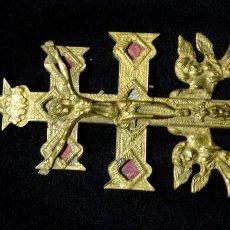 Antigüedades: 18 CMTS.GRAN CRUZ RELICARIO CARAVACA DOBLE, BRONCE Y TELA, SIGLO XIX. 18 CMTS DE ALTA. Lote 135247222