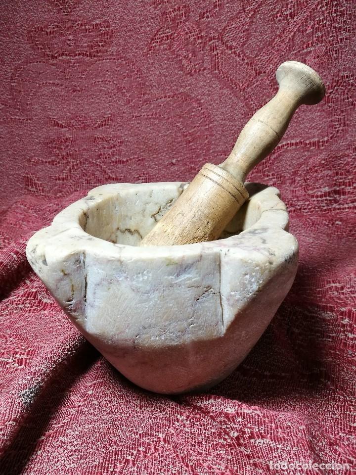 Antigüedades: antiguo mortero realizado piedra Marmol de SANTA TECLA--tarragona - Foto 4 - 149204338