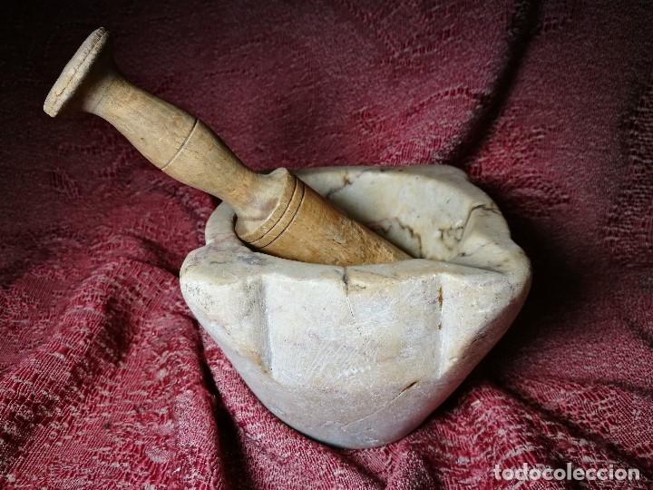 Antigüedades: antiguo mortero realizado piedra Marmol de SANTA TECLA--tarragona - Foto 37 - 149204338