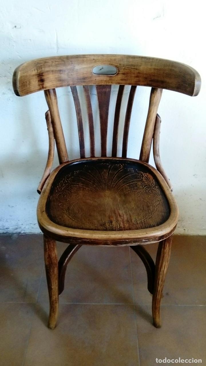 SILLA TIPO THONET CON ASIENTO GRABADO (Antigüedades - Muebles Antiguos - Sillas Antiguas)