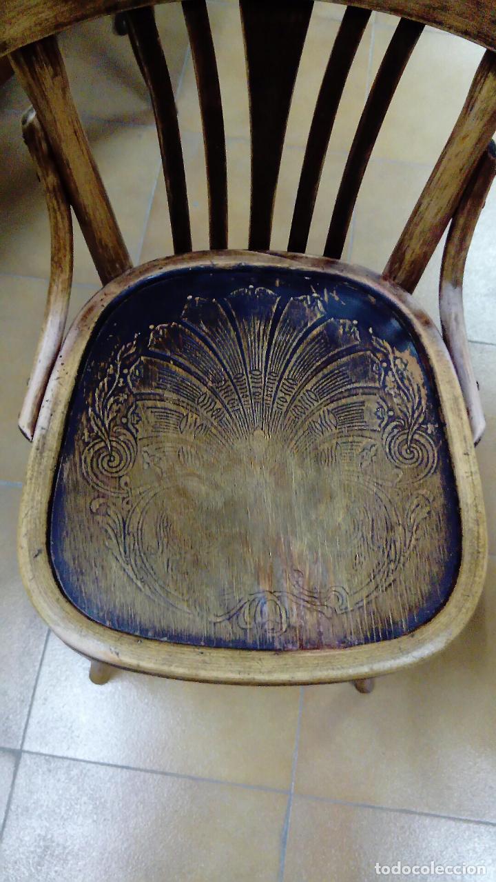 Antigüedades: Silla tipo thonet con asiento grabado - Foto 2 - 149215534
