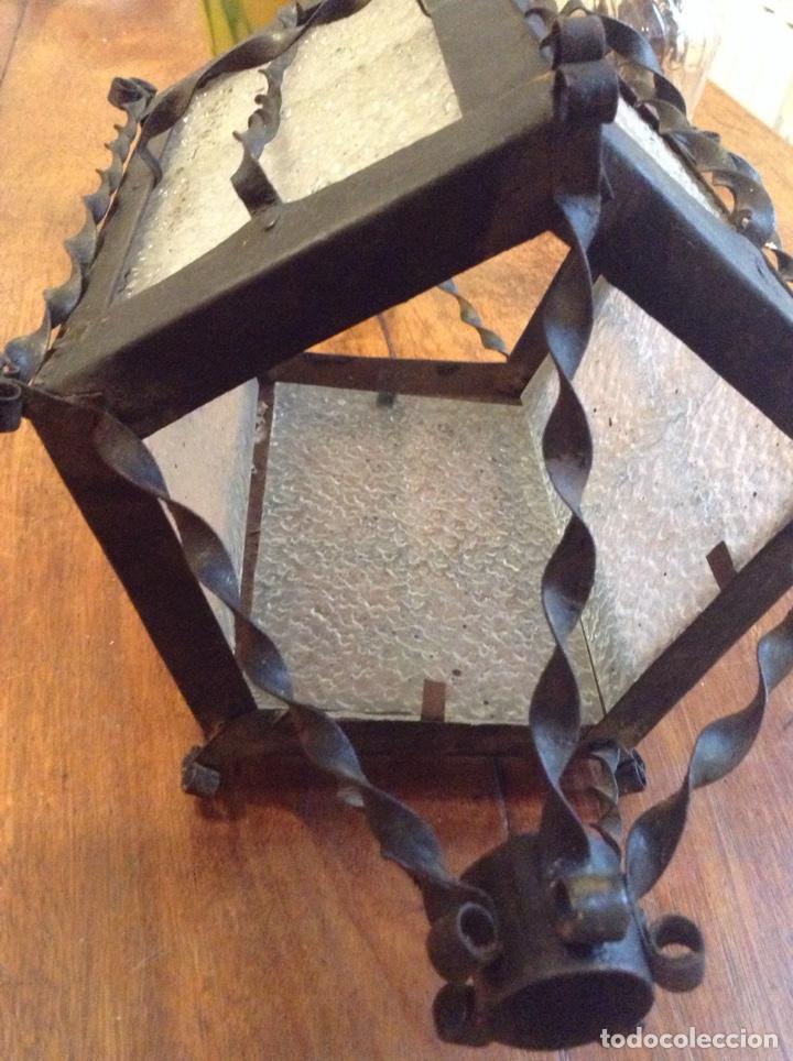 Antigüedades: Lampara farol hierro cristal - Foto 2 - 149215849
