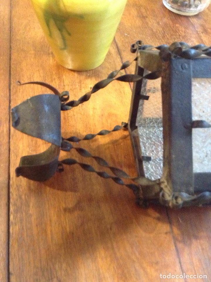 Antigüedades: Lampara farol hierro cristal - Foto 3 - 149215849