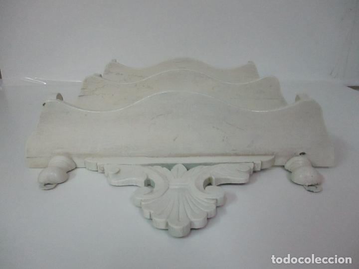 Antigüedades: Pareja de Repisas - Estanterías Alfonsinas - Madera Torneada y Pintada - Finales S. XIX - Foto 14 - 149220678