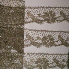 Antigüedades: 7 M PUNTILLA BLONDA FRANCESA ORO METAL FILO MANTO CONCHA ENCAJE METALICO DORADO VIRGEN SEMANA SANTA. Lote 149232002