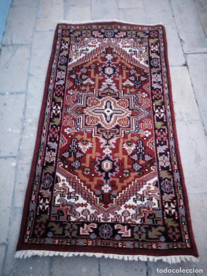 Antigüedades: Preciosa alfombra persa de pasillo hecha a mano lana pura,tonos rojizos. - Foto 2 - 149236966