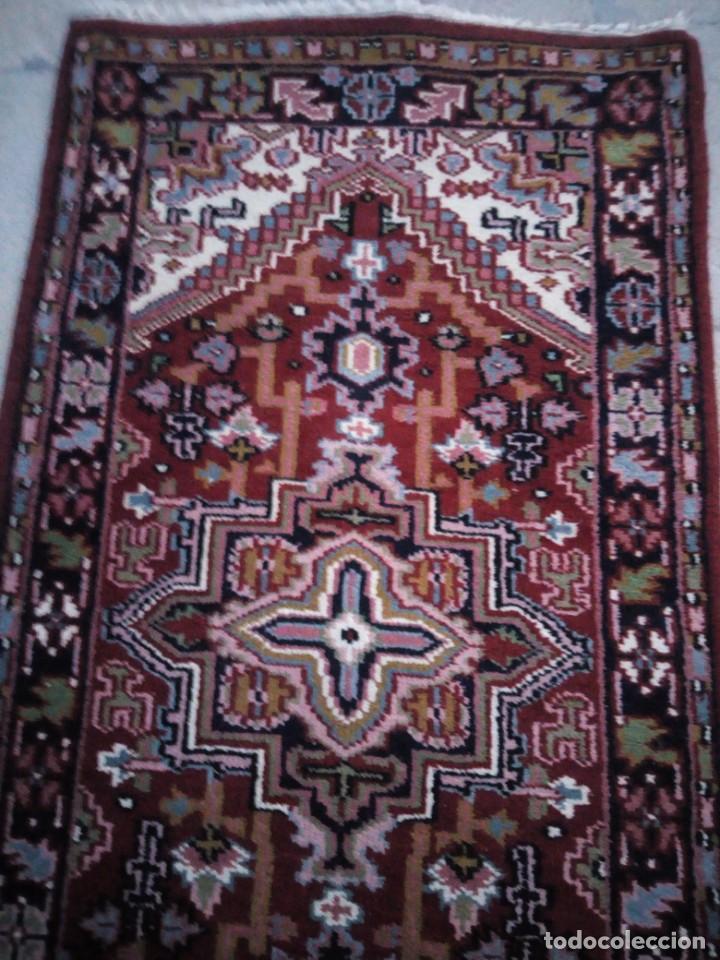 Antigüedades: Preciosa alfombra persa de pasillo hecha a mano lana pura,tonos rojizos. - Foto 4 - 149236966