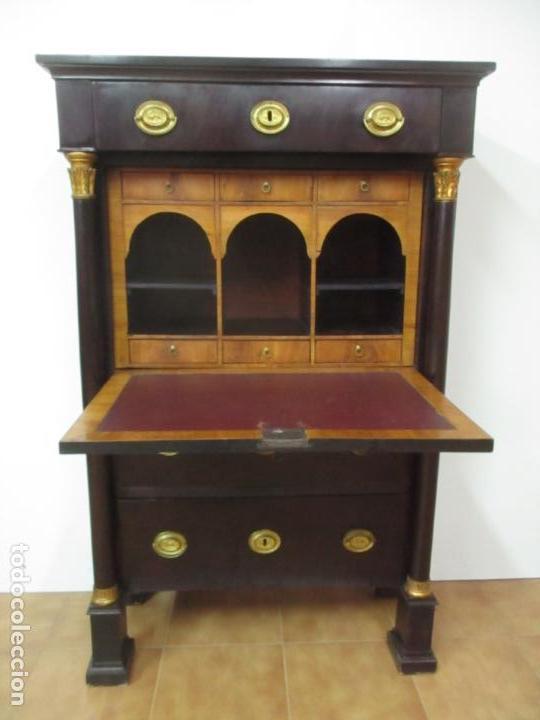 Antigüedades: Secreter Abattant Imperio - Mueble Escritorio - Madera de Caoba - Principios S. XIX - Foto 23 - 149273210