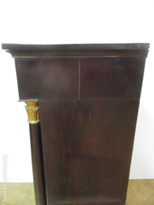 Antigüedades: Secreter Abattant Imperio - Mueble Escritorio - Madera de Caoba - Principios S. XIX - Foto 34 - 149273210