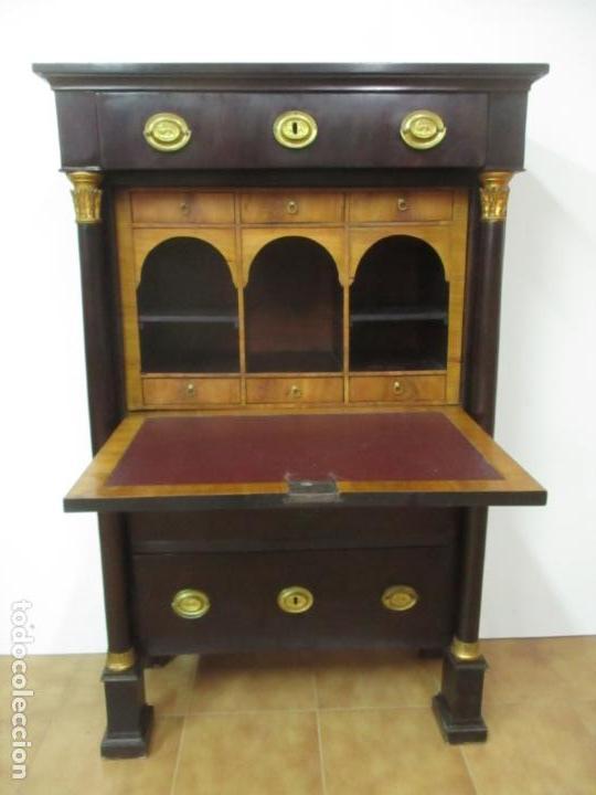 Antigüedades: Secreter Abattant Imperio - Mueble Escritorio - Madera de Caoba - Principios S. XIX - Foto 51 - 149273210