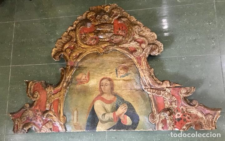 CABEZAL, CABECERO DE CAMA TALLADO EN MADERA, POLICROMADO Y DORADO. INMACULADA CONCEPCIÓN. SIGLO XVII (Antigüedades - Muebles Antiguos - Camas Antiguas)