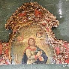 Antigüedades: CABEZAL, CABECERO DE CAMA TALLADO EN MADERA, POLICROMADO Y DORADO. INMACULADA CONCEPCIÓN. SIGLO XVII. Lote 149315373