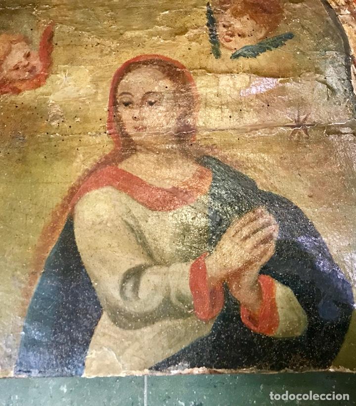 Antigüedades: Cabezal, cabecero de cama tallado en madera, policromado y dorado. Inmaculada Concepción. Siglo XVII - Foto 4 - 149315373