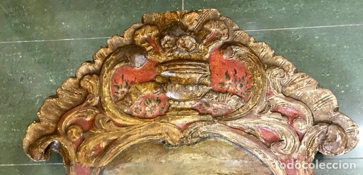 Antigüedades: Cabezal, cabecero de cama tallado en madera, policromado y dorado. Inmaculada Concepción. Siglo XVII - Foto 5 - 149315373