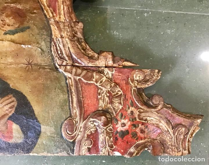 Antigüedades: Cabezal, cabecero de cama tallado en madera, policromado y dorado. Inmaculada Concepción. Siglo XVII - Foto 7 - 149315373