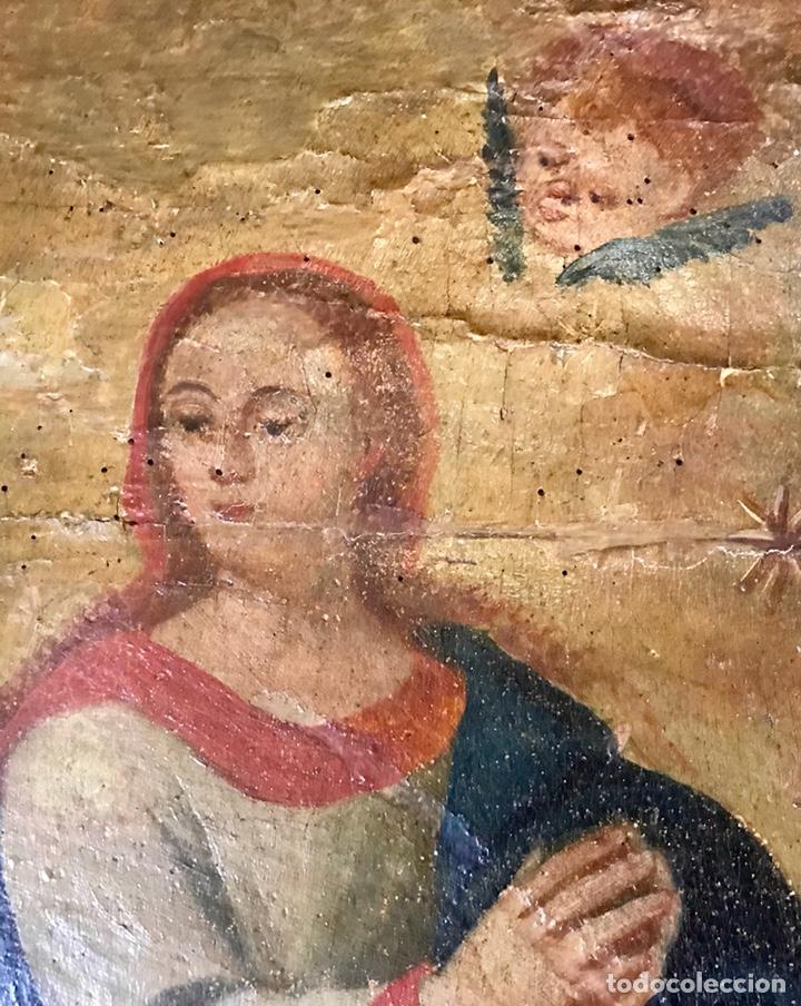 Antigüedades: Cabezal, cabecero de cama tallado en madera, policromado y dorado. Inmaculada Concepción. Siglo XVII - Foto 8 - 149315373