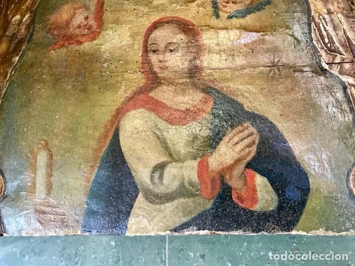 Antigüedades: Cabezal, cabecero de cama tallado en madera, policromado y dorado. Inmaculada Concepción. Siglo XVII - Foto 9 - 149315373