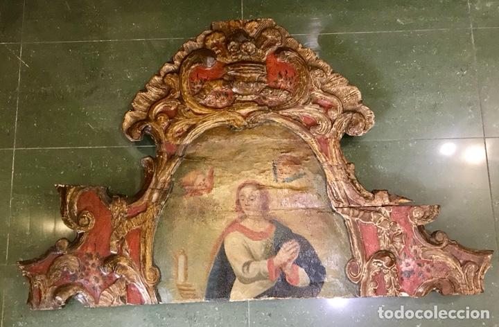 Antigüedades: Cabezal, cabecero de cama tallado en madera, policromado y dorado. Inmaculada Concepción. Siglo XVII - Foto 11 - 149315373