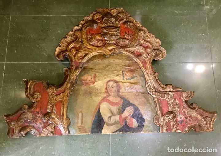 Antigüedades: Cabezal, cabecero de cama tallado en madera, policromado y dorado. Inmaculada Concepción. Siglo XVII - Foto 12 - 149315373