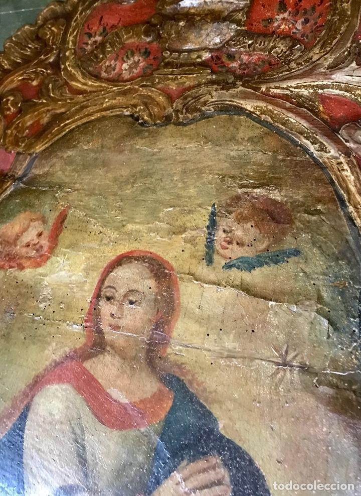 Antigüedades: Cabezal, cabecero de cama tallado en madera, policromado y dorado. Inmaculada Concepción. Siglo XVII - Foto 16 - 149315373