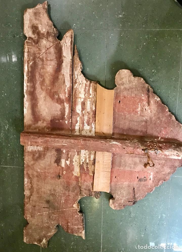 Antigüedades: Cabezal, cabecero de cama tallado en madera, policromado y dorado. Inmaculada Concepción. Siglo XVII - Foto 17 - 149315373