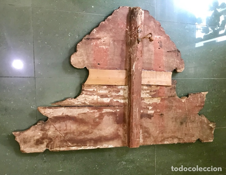 Antigüedades: Cabezal, cabecero de cama tallado en madera, policromado y dorado. Inmaculada Concepción. Siglo XVII - Foto 18 - 149315373