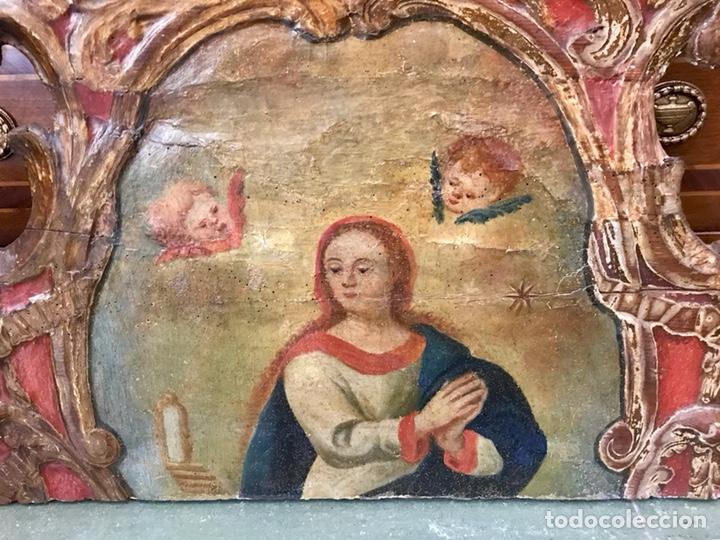 Antigüedades: Cabezal, cabecero de cama tallado en madera, policromado y dorado. Inmaculada Concepción. Siglo XVII - Foto 22 - 149315373