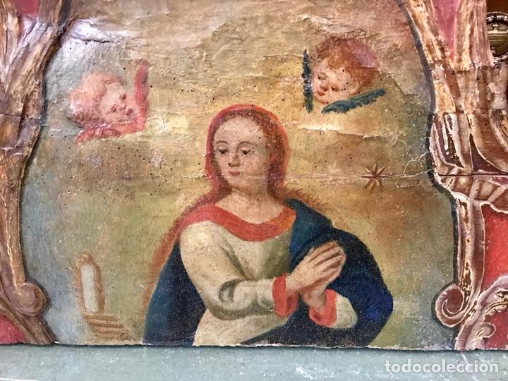 Antigüedades: Cabezal, cabecero de cama tallado en madera, policromado y dorado. Inmaculada Concepción. Siglo XVII - Foto 23 - 149315373