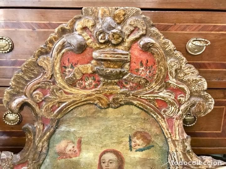 Antigüedades: Cabezal, cabecero de cama tallado en madera, policromado y dorado. Inmaculada Concepción. Siglo XVII - Foto 24 - 149315373
