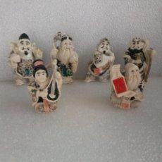 Antigüedades: 6 FIGURAS EN RESINA IMITACION MARFIL DIOSES DE LA FORTUNA CHINOS CHINA CON ALGUNA LIGERA FALTA. Lote 149323714