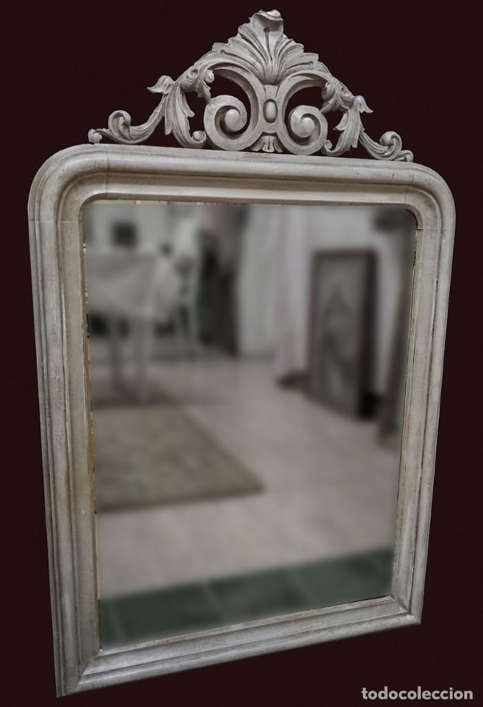 ANTIGUO ESPEJO ISABELINO PINTADO AL ESTILO GUSTAVIANO. PIEZA ÚNICA Y ESPECIAL. LUNA ORIGINAL.104X67 (Antigüedades - Muebles Antiguos - Espejos Antiguos)
